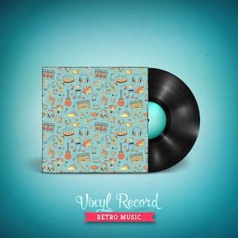 Realista disco de vinilo lp de larga duración. expediente de gramófono de vinilo vector vintage