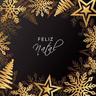 Realista dorado feliz natal