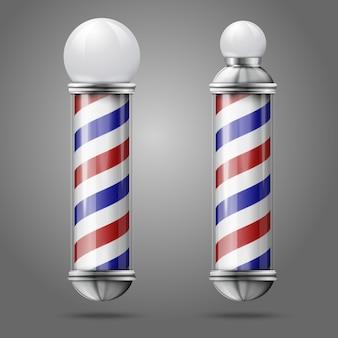 Realista dos diferentes postes de peluquería vintage antiguos de plata y vidrio con rojo