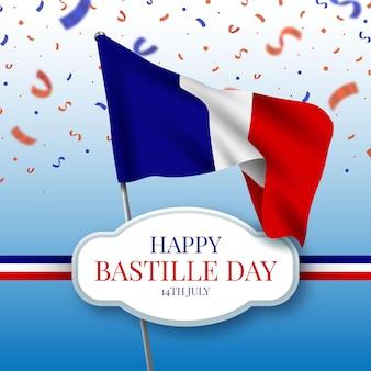 Realista feliz día de la bastilla con bandera y confeti