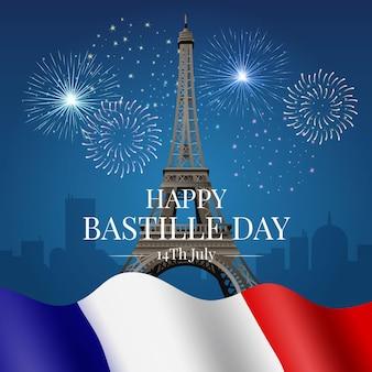 Realista feliz día de la bastilla con torre eiffel y bandera