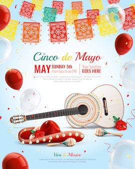 Realista fiesta mexicana composición de cinco de mayo con globos de guitarra sombrero maracas