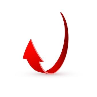 Realista flecha roja remolino. ilustración sobre un blanco