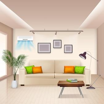 Realista con habitación amueblada y aire acondicionado moderno en la pared.
