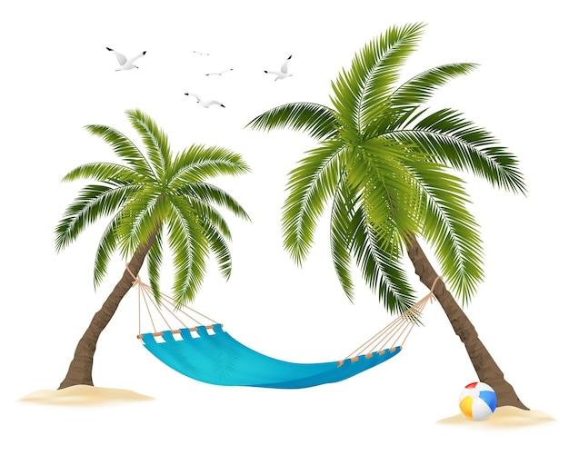 Realista hamaca vacía entre palmeras y bandada de pájaros en el cielo en blanco