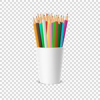 Realista icono de soporte de vaso de plástico en blanco con un conjunto de lápices de colores. primer plano sobre fondo de cuadrícula de transparencia. plantilla, imágenes prediseñadas o para gráficos: web, aplicación. vista frontal