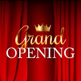 Realista inauguración colorida cortina de terciopelo rojo doblada. ilustración