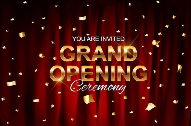 Realista inauguración colorida cortina de terciopelo rojo doblada.