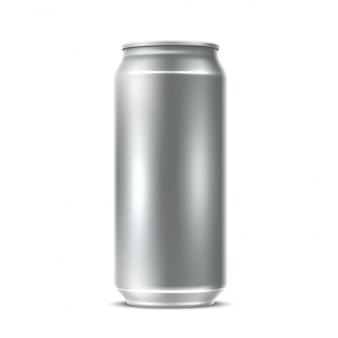 Realista lata de plata en blanco para refrescos, jugos, agua o cerveza.
