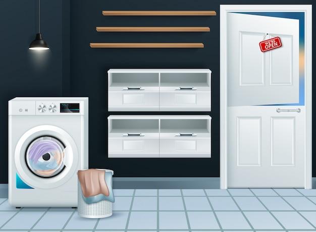Realista lavadora moderna en lavadero vacío.