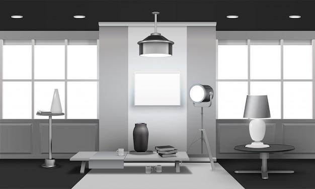 Realista loft interior diseño 3d