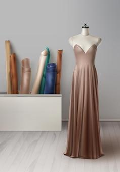 Realista de maniquí para taller de costura. espacio de trabajo con telas, maniquí, vestido