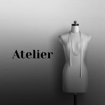 Realista de maniquí para taller de costura. signo blanco y negro