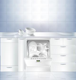 Realista maqueta de cocina con piso blanco y pared blanca.