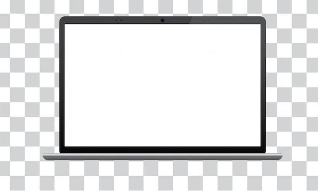 Realista maqueta oscura portátil. vista frontal isométrica con teclado y pantalla en blanco.