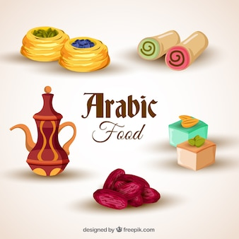 Realista paquete de comida árabe