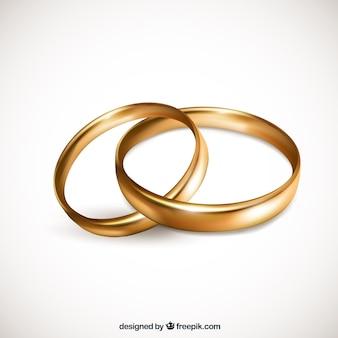 Realista par de alianzas de oro