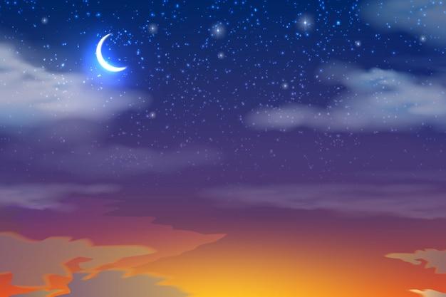 Realista puesta de sol naranja sobre cielo azul oscuro con luna, estrellas y nubes