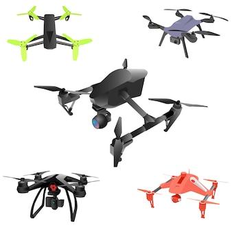Realista quad-helicóptero de aviones no tripulados de aire remoto con cámara.