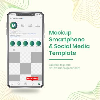 Realista de redes sociales ui ux plantilla de diseño de teléfono inteligente