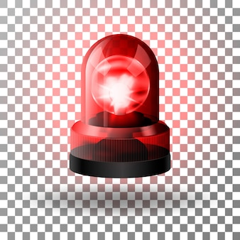 Realista sirena intermitente roja para coches.