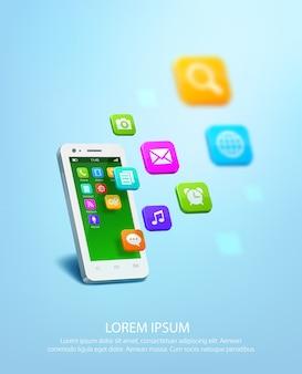 Realista smartphone blanco con iconos de colores de aplicaciones.