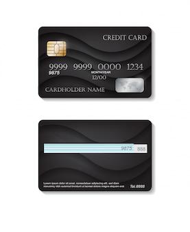 Realista tarjetas de crédito detalladas con fondo abstracto negro. plantilla frontal y trasera