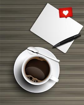 Realista taza de café negro con cuchara y platillo vista superior y documento sobre fondo de madera.