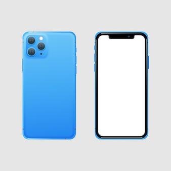 Realista teléfono inteligente azul frontal y posterior