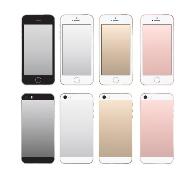 Realista teléfono inteligente frontal y posterior set maqueta de estilo iphon.