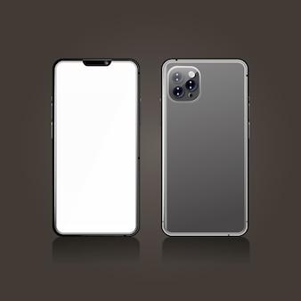 Realista teléfono inteligente gris frontal y posterior