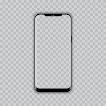 Realista teléfono inteligente moderno con pantalla transparente.