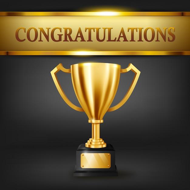 Realista trofeo de oro y texto de felicitaciones en brillante estandarte dorado