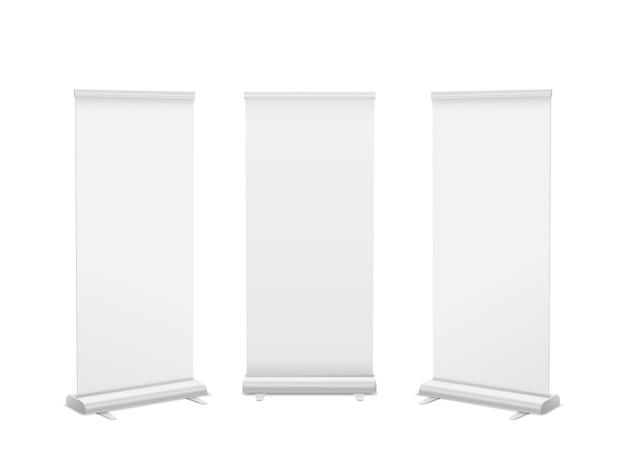 Realista vertical roll up banner stand plantilla. aislado