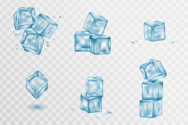 Realistas cubitos de hielo sólido azul sobre fondo transparente. colección blue ice, aislada, refresca.