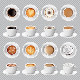 Realistas diferentes tipos de café en tazas blancas.