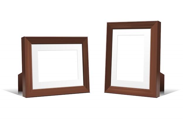 Realistas marcos vacíos en 3d de madera de wengué. ilustración sobre fondo blanco.