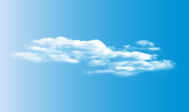 Realistas nubes blancas en 3d en el cielo azul