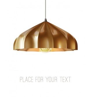 Realistic loft metallic elegante lámpara colgante de techo de cono. original diseño moderno.