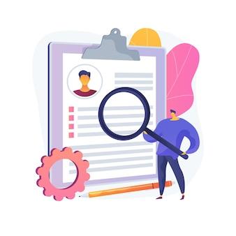 Reanudar la ilustración del concepto abstracto del servicio de escritura. servicio de redacción publicitaria, cv en línea, ayuda profesional para redactar currículum vitae, carta de presentación, perfil del candidato, resumen de carrera