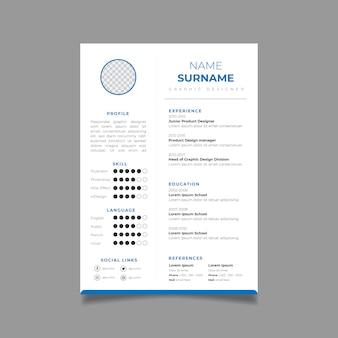 Reanudar la plantilla de diseño minimalista de cv. vector de diseño de negocios para solicitudes de empleo.