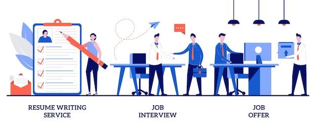 Reanudar el servicio de redacción, entrevista de trabajo, concepto de oferta de trabajo con personas pequeñas. conjunto de ilustración abstracta de proceso de empleo. cv online, carta de presentación, perfil del candidato, reclutador, responsable de contratación.