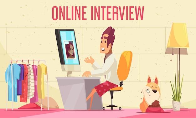 Reanude la composición horizontal de reclutamiento con texto y el interior del hogar con computadora de escritorio y personajes humanos