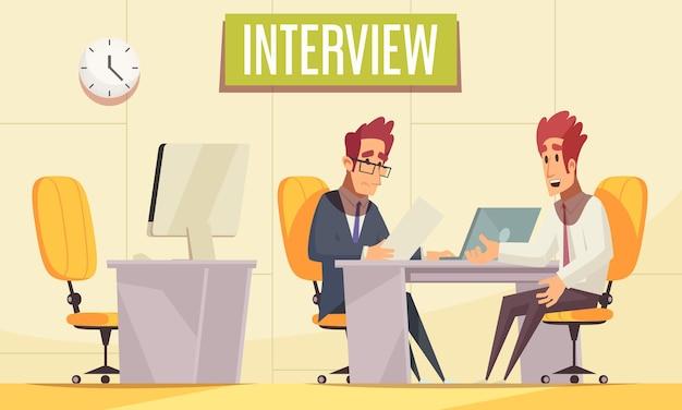 Reanude la contratación con el interior de la oficina interior con muebles de trabajo y comunicando personajes humanos