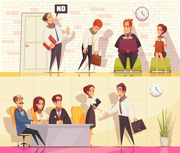 Reanude el reclutamiento de la colección de pancartas horizontales con personajes humanos planos durante la entrevista de trabajo con elementos interiores interiores