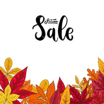 Rebaja. frase de letras sobre fondo con hojas de otoño.