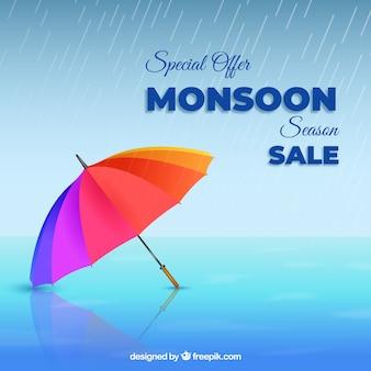 Rebajas de la época del monzón con paraguas realistas