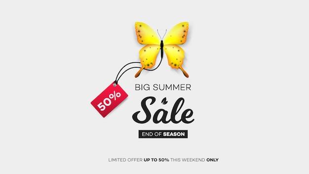 Rebajas finales de verano. mariposa azul con etiqueta de venta. ilustración conceptual moderna.