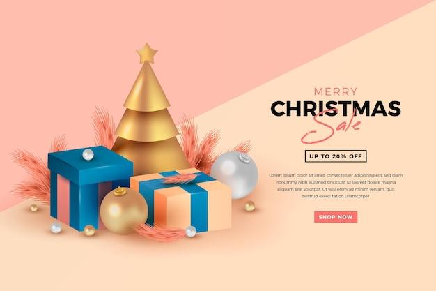 Rebajas de navidad realistas en colores pastel.