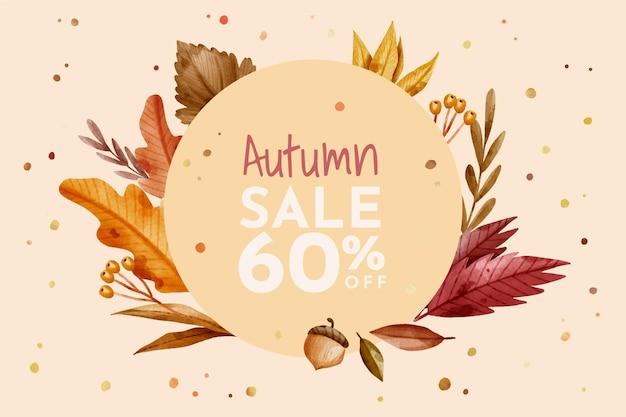 Rebajas de otoño en acuarela con descuento especial.
